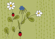 Blumen und Marienkäfer