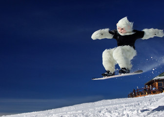 Snowboarder bigfoot