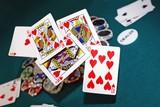 quinte flush royale à coeur - poker poster