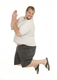 Overweight Man Jumping and Exercising poster