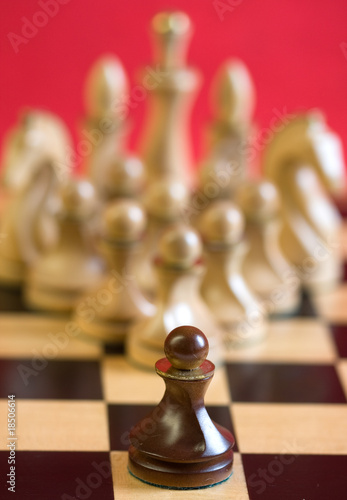 pawn in front of the chess pieces