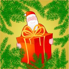 Cornice natalizia con rami e Babbo Natale