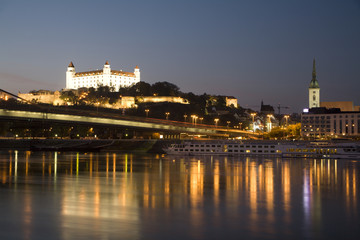Bratislava - castle and cathedral in evening and Danube