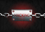 3D hacking message sign poster