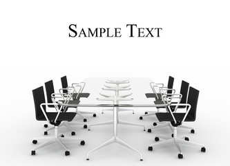 Empty conference table isolated on white with place for text