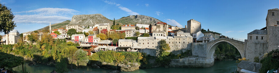 panorama view of mostar city old town, bosnia herzegovina
