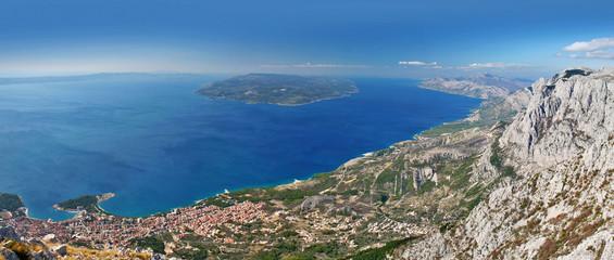 beautiful view to mediterranean coast biokovo mountain, croatia
