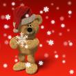 Nhi-Bär mit Schneeflocken und Weihnachtsmannmütze