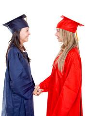 Graduates handshaking