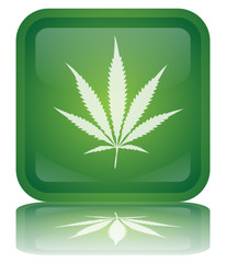 """Cannabis"" Button (square - green - vector - reflection)"