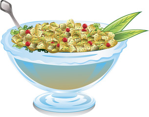 Bowl of cranberry stuffing