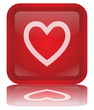 """Heart"" Button (square - shiny - red - vector - with reflection)"