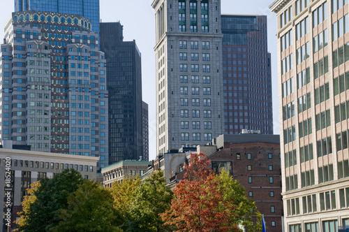 Fall in Boston with Skyscrapers