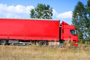 Red truck semitrailer