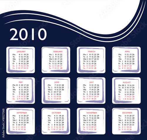 Concept for calendar of 2010 year - vector