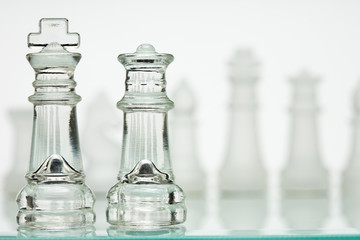 Glass Chess Kings and Queens