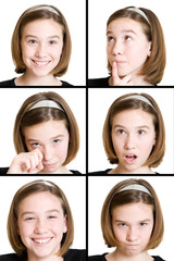 young girl with different expression from face
