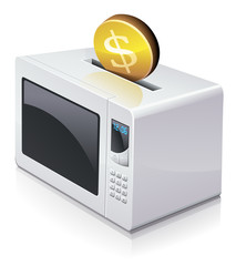 Investing dollars in a microwave oven