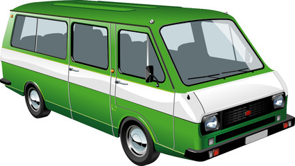 Vector mini bus isolated