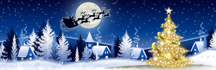 Blue Christmas banner with Santa Claus
