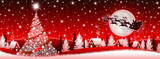 Fototapety Red Christmas banner with Santa Claus