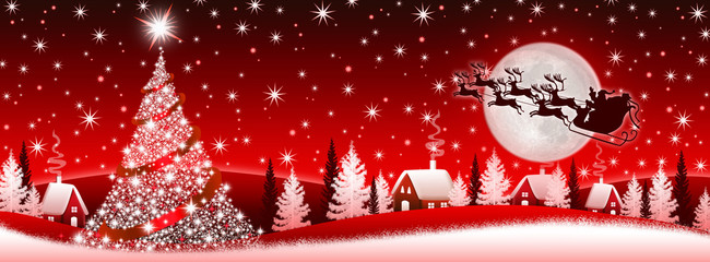 Red Christmas banner with Santa Claus
