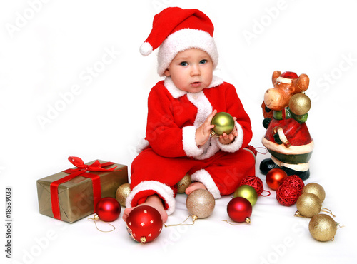 Baby in santa claus costume