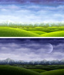 Day and night summer rolling landscapes