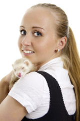 Young lovely woman with little ferret.