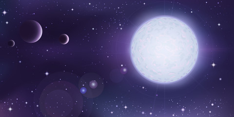 Space view - white star with several planets in foreground
