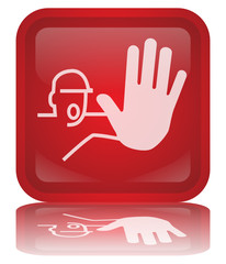 """Keep Out"" Warning Sign Button (square - vector - reflection)"