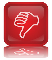 """Thumbs Down"" Button (square - red - vector- reflection)"