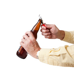Cap being removed from beer bottle