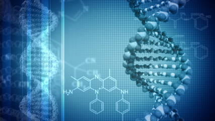 Blue background with rotating DNA