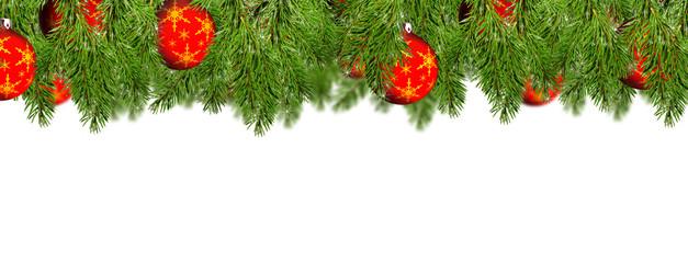 Tannenzweig mit Weihnachtskugeln Hintergrund