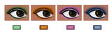 Vector, set of eyes afro with color sample eyeshadow poster