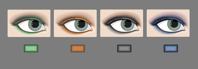 Vector, set of eyes with color sample eyeshadow makeup