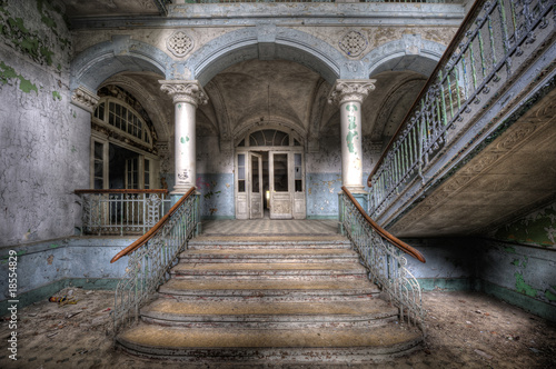 Leinwanddruck Bild Old stairs in Beelitz