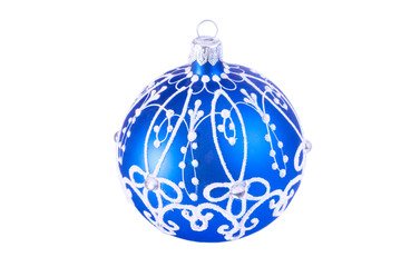 Bright blue Christmas ball (isolated on white)