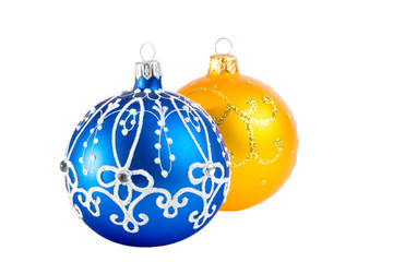 Two Christmas balls (isolated on white)