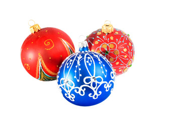 Three Christmas balls (isolated on white)