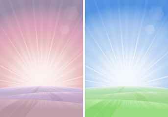 Two morning landscapes in different colors