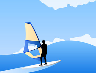 windsurfing on the waves vector