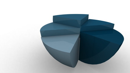3D blue pie chart in motion isolated on white
