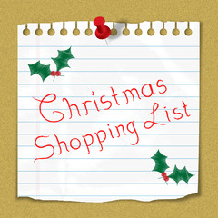 """""""Christmas Shopping List"""" reminder note stuck on notice board"""