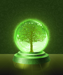 Green tree seen inside the crystal scrying ball