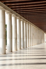 The columns in the capital of Greece near Acropolis