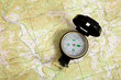 compass on a topographical map - 18570475