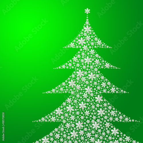 Leinwandbild Motiv Weihnachtsbaum auf grünem Hintergrund