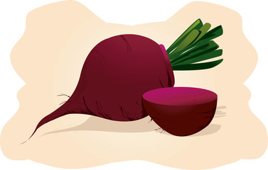 two beetroots with it's leaves